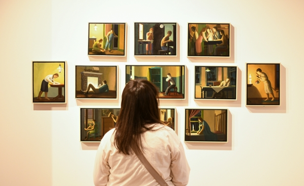 Photo of viewer looking at artwork on wall