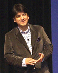 Sherman Alexie lecturing to an audience