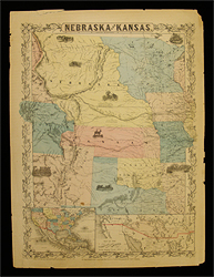 Nebraska and Kansas Map by J. H. Colton circa 1854